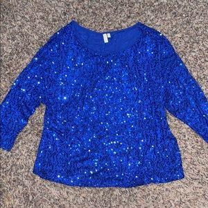 Blue sequin 3/4 sleeve top